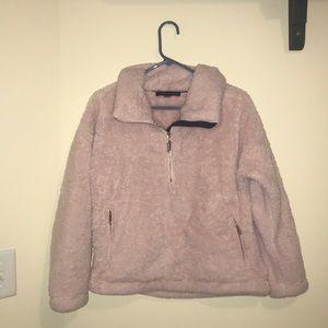 light pink sherpa fluffy tommy hilfiger jacket